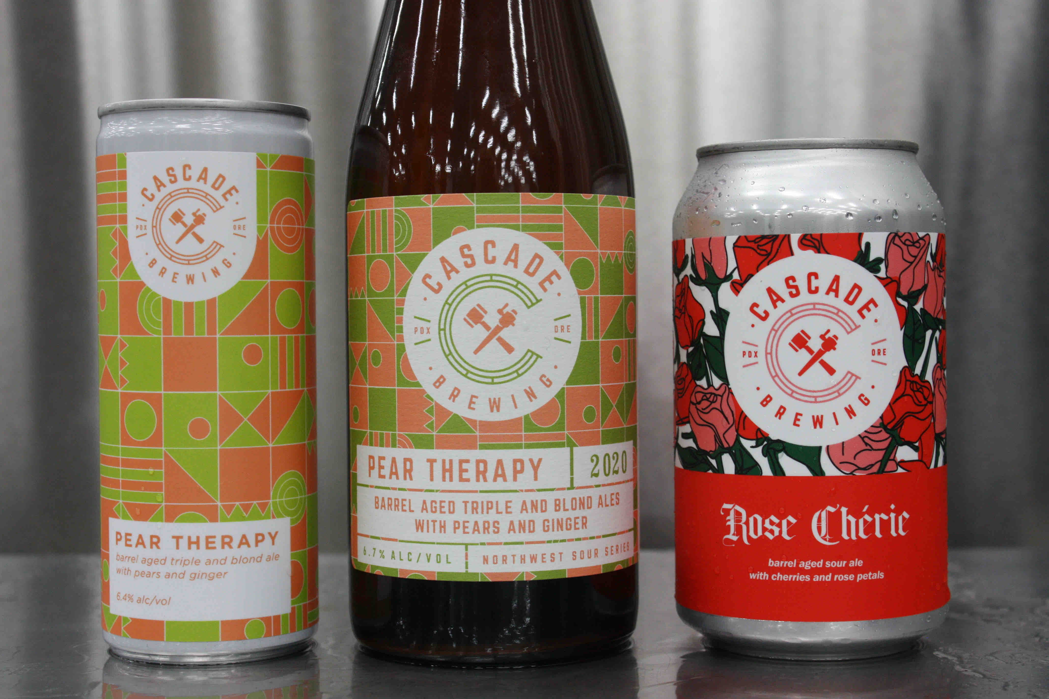 image of Pear Therapy and Rose Chérie courtesy of Cascade Brewing