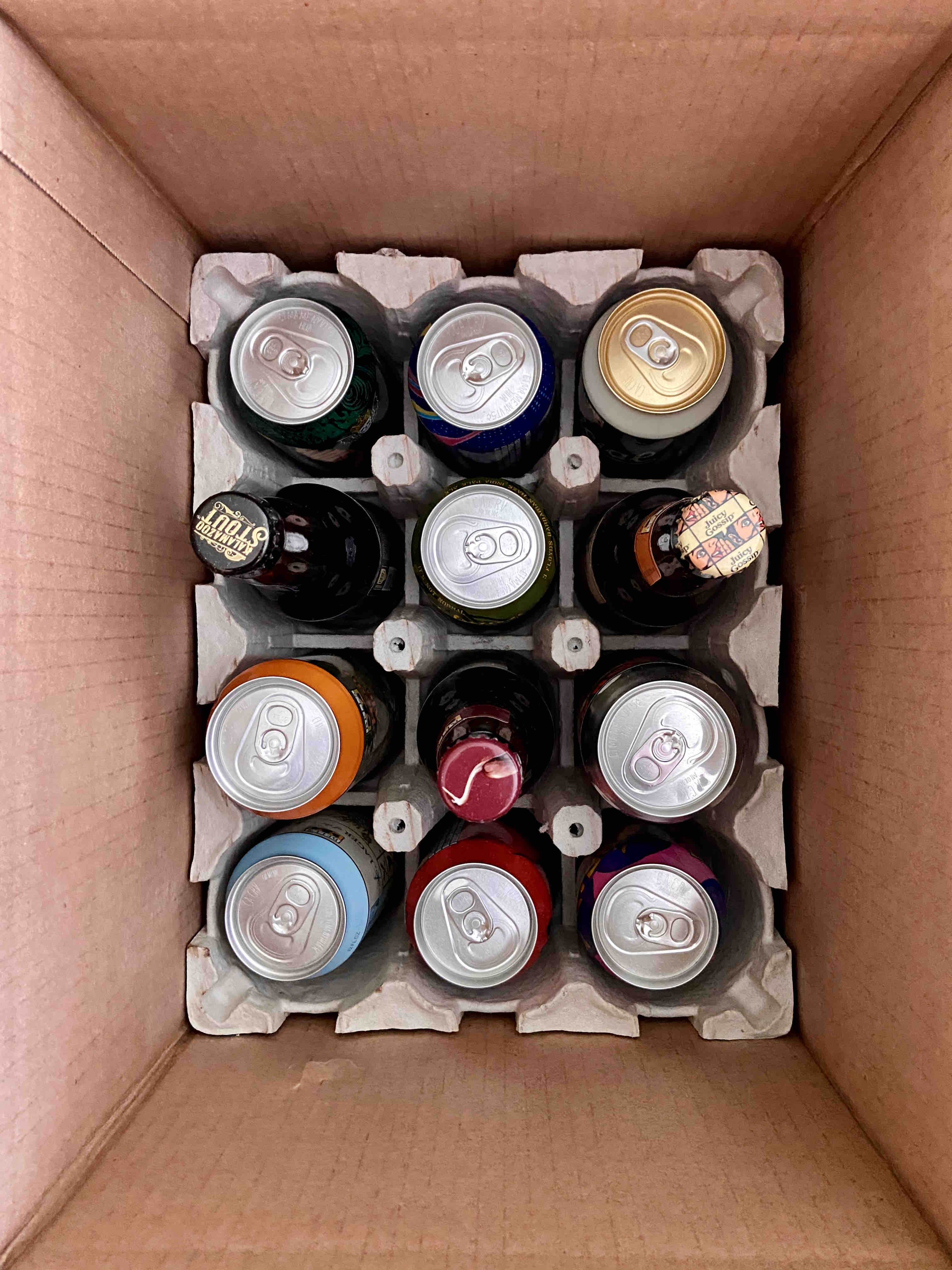 A mixed 12 pack of beers from Bell's Brewery and 3 Floyds from Half Time Beverage