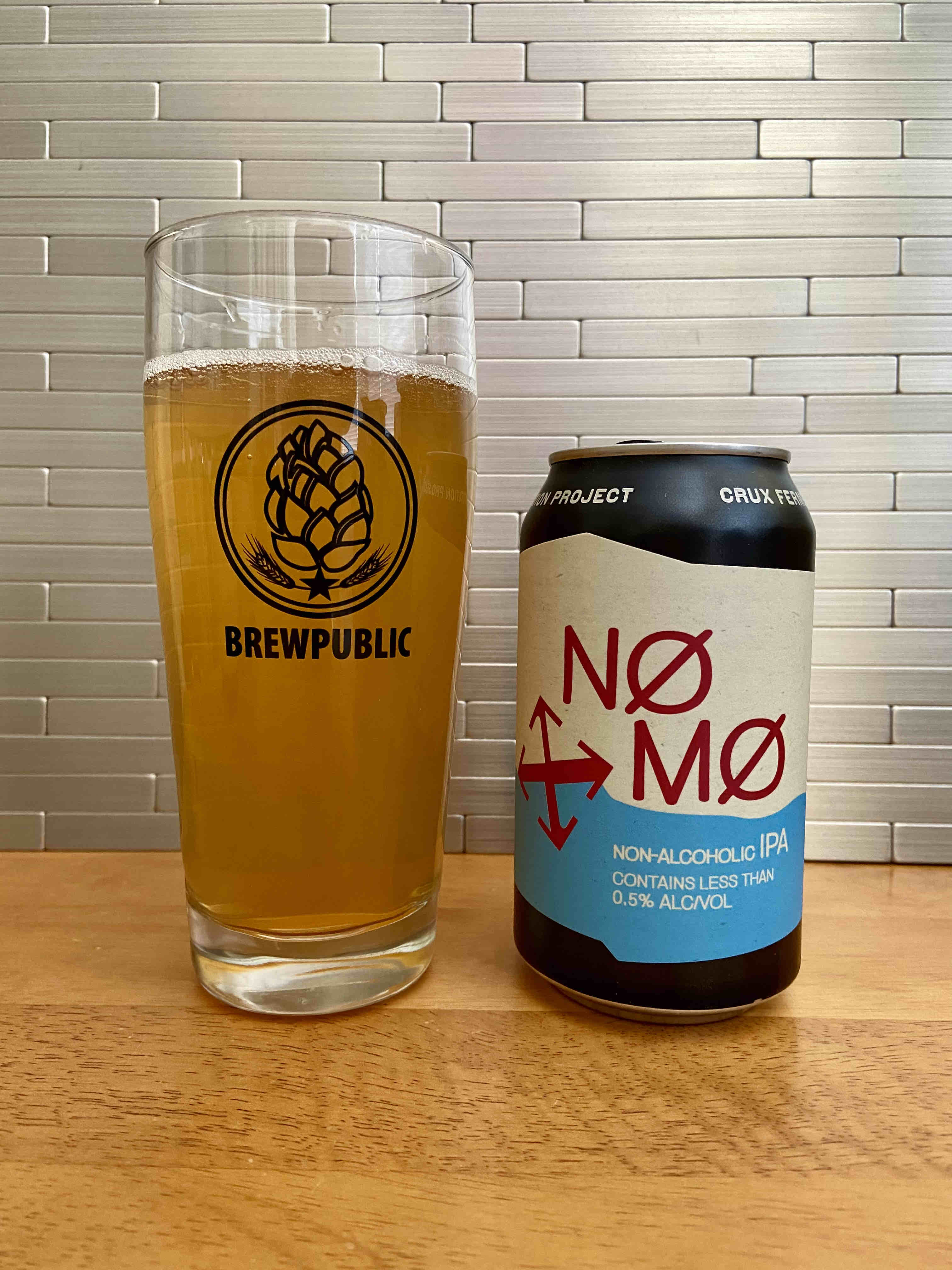 A pour of the new NØ MØ Non-Alcoholic IPA from Crux Fermentation Project