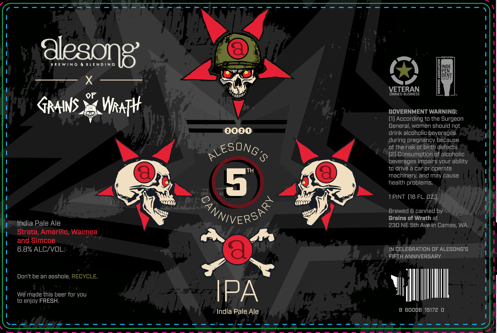 Alesong Brewing & Blending 5th Anniversary IPA brewed at Grains of Wrath
