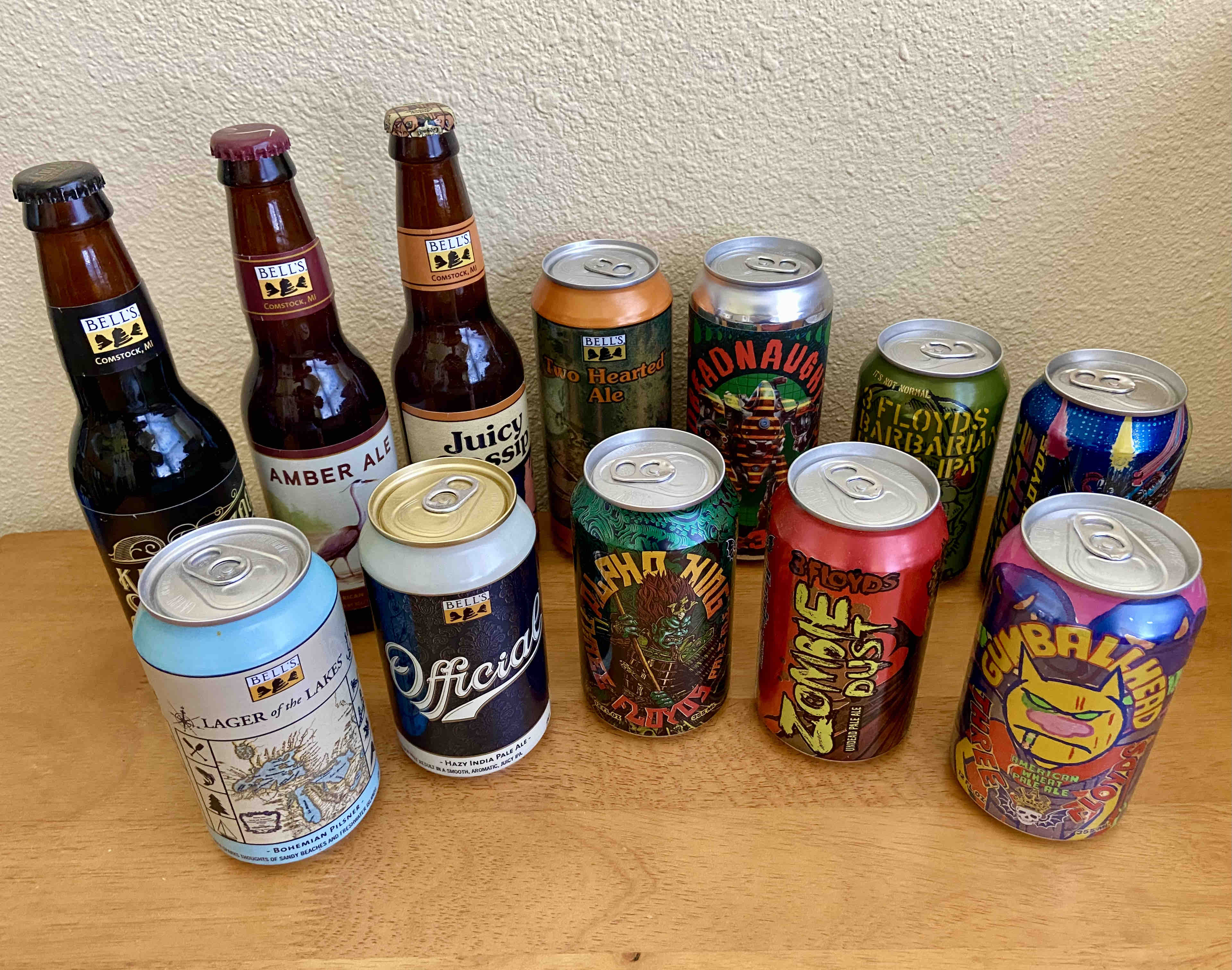 An assortment of beers from Bell's Brewery and 3 Floyds from Half Time Beverage