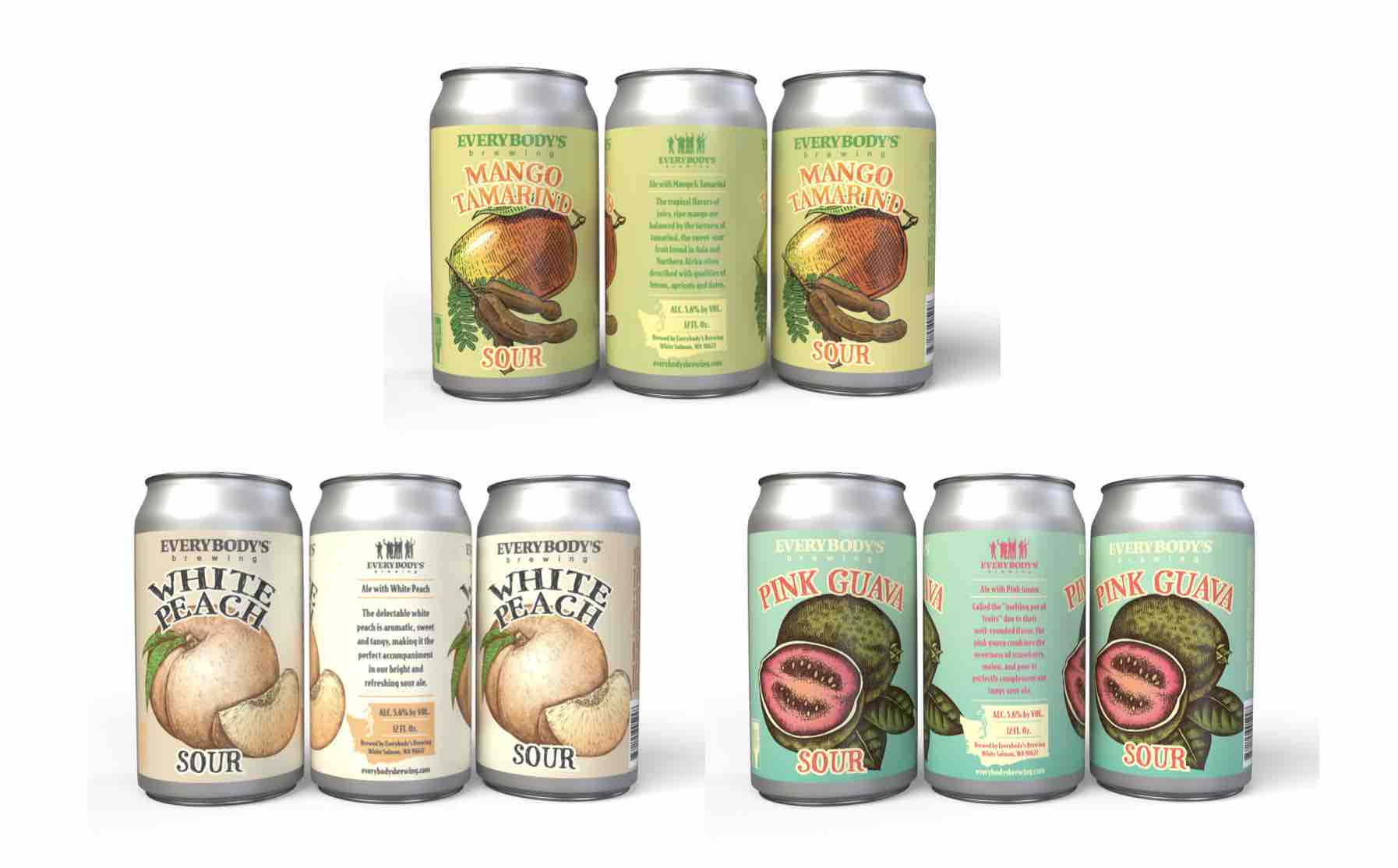 Everybody's Brewing to Release Summer Sour Series with Mango Tamarind Sour Ale, Pink Guava Sour Ale, and White Peach Sour Ale.