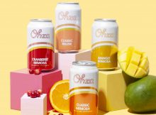 Ohza lineup of mimosas - Classic Mimosa, Cranberry Mimosa, Mango Mimosa, and Classic Bellini.