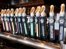 Pelican Brewing tap handles at its brewpub in Pacific City, Oregon.
