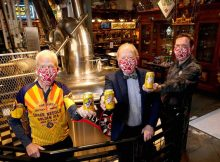 From left to right, Howard Wright, Charles Finkel, Pike Brewing Company founder and Drew Gillespie, Pike Brewing Company president.