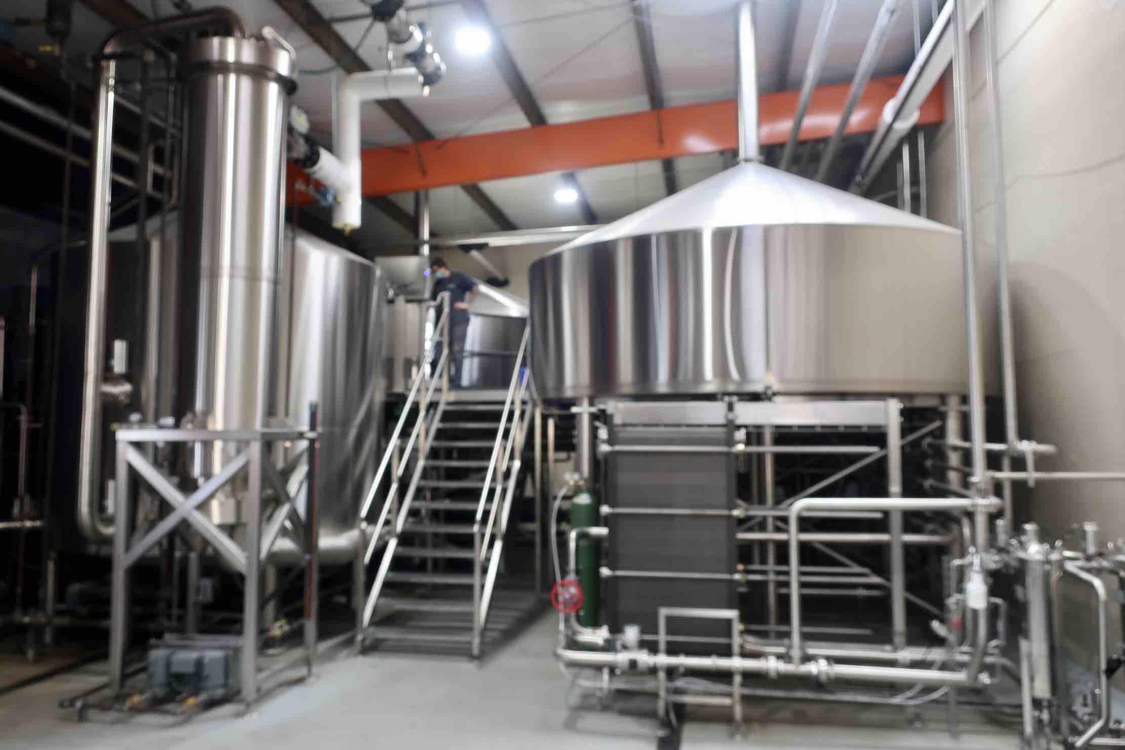 The 90-barrel Konig build brewhouse at Pelican Brewing in Tillamook, Oregon.