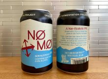 The front and rear label of NØ MØ Non-Alcoholic IPA from Crux Fermentation Project.