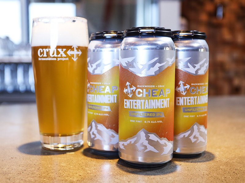image of Cheap Entertainment Unfiltered IPA courtesy of Crux Fermentation Project
