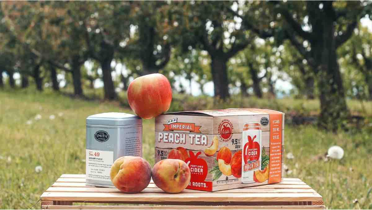 image of Imperial Peach Tea Cider courtesy of Portland Cider Co.