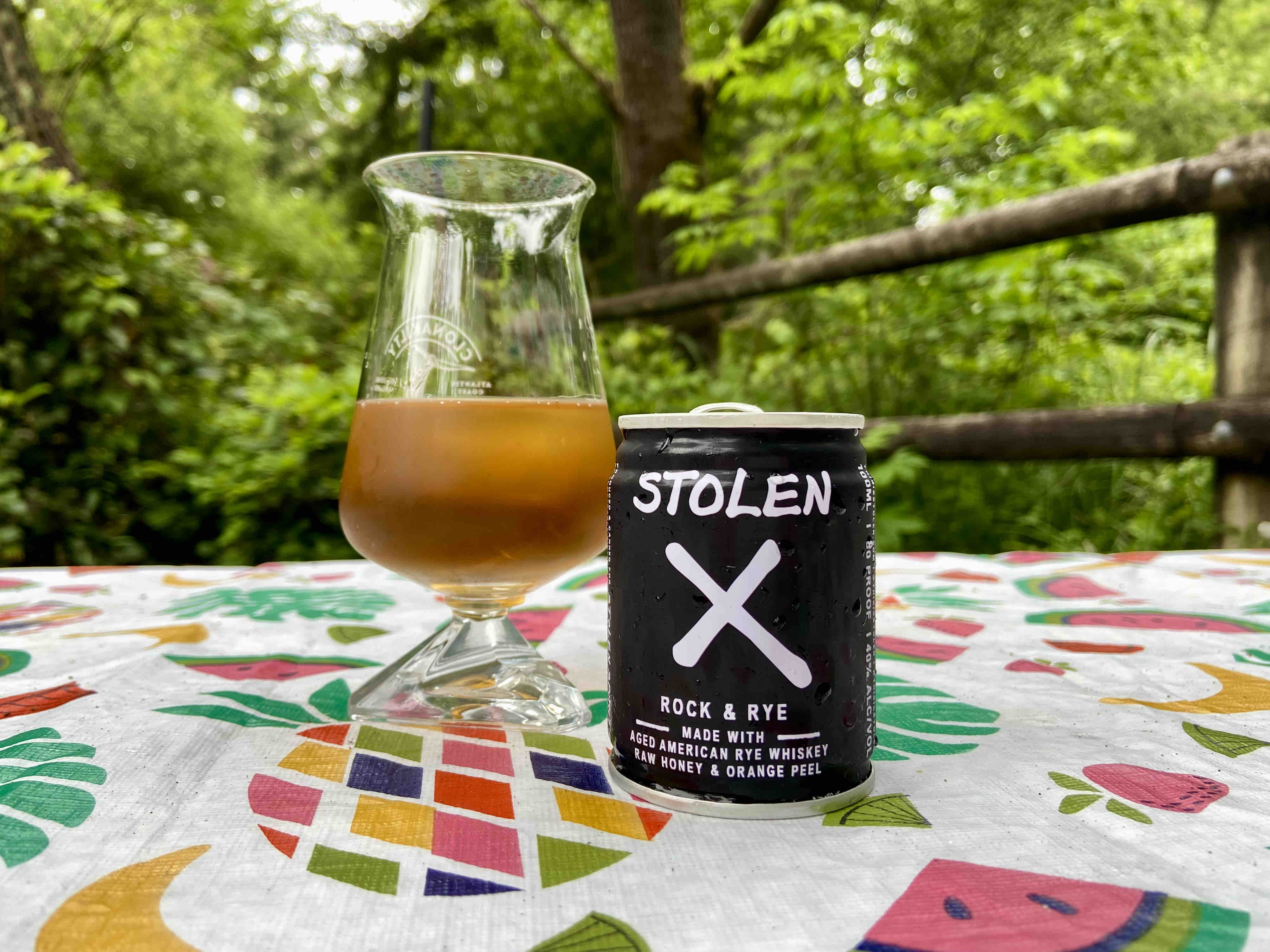 A pour of Stolen X Rock & Rye from a 100mL can.
