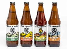 Refreshed labels from Double Mountain Brewery on Vaporizer Pale Ale, Kolsch, Hop Lion IPA, and Azyhay Hazy IPA.
