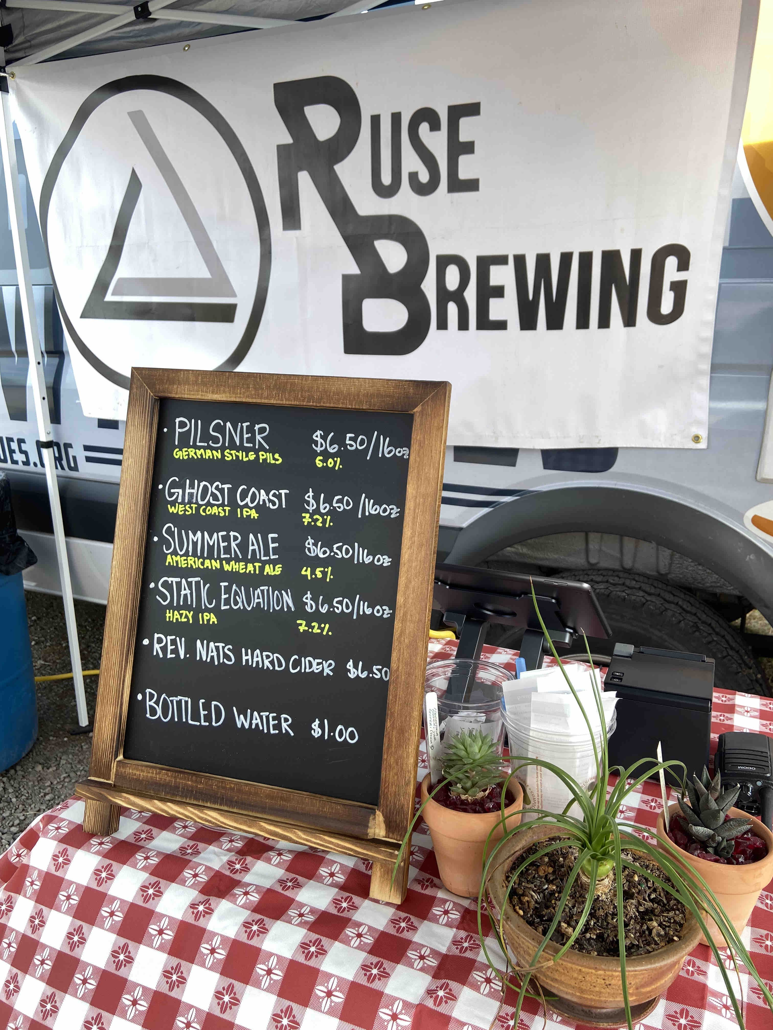 The opening weekend taplist from Ruse Brewing at Brooklyn Garden.