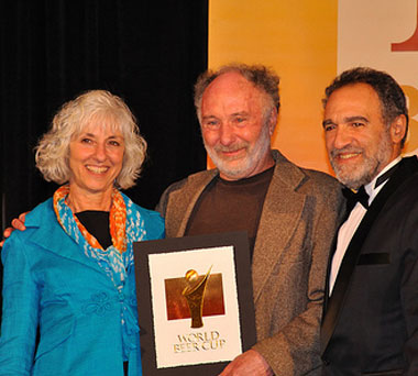 image of Mari and Will Kemper with Charlie Papazian (right) at the World Beer Cup courtesy of Chuckanut Brewery