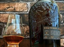 A neat pour of Bib & Tucker 6 Year Old Small Batch Bourbon Whiskey
