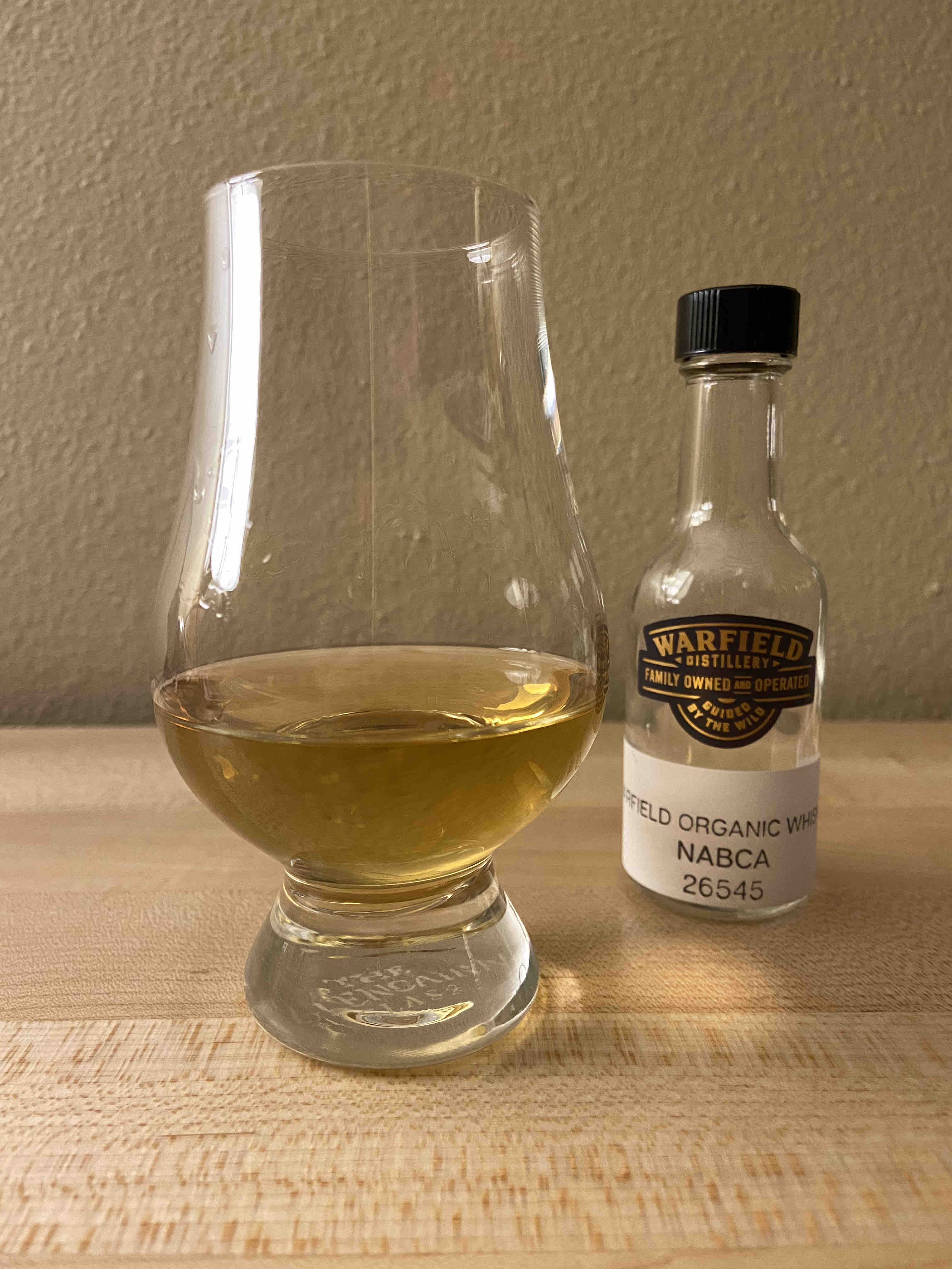 A pour of Warfield Organic American Whiskey.