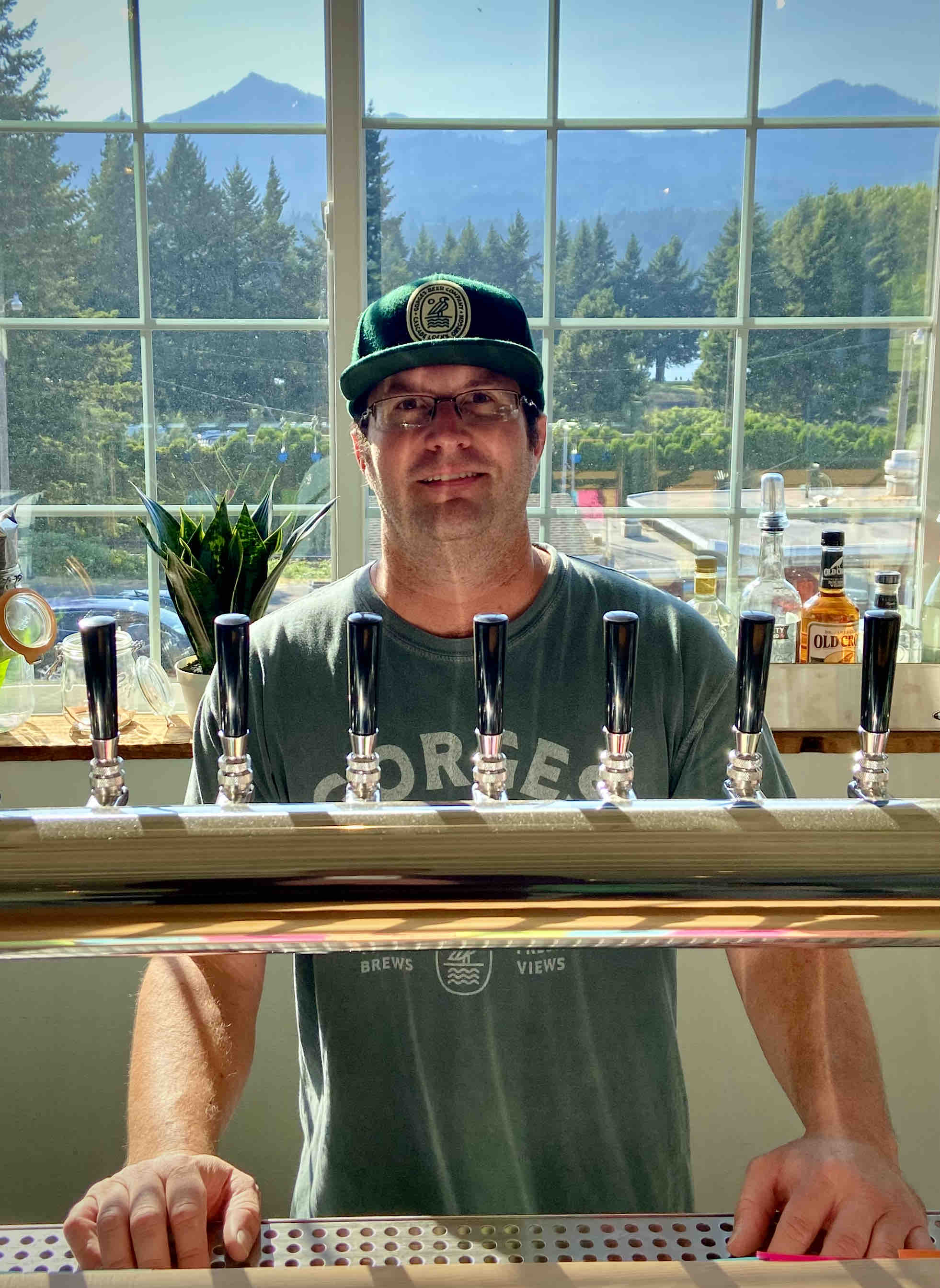 Bryan Keilty ready to serve a beer at Gorges Beer Co. in Cascade Locks, Oregon.