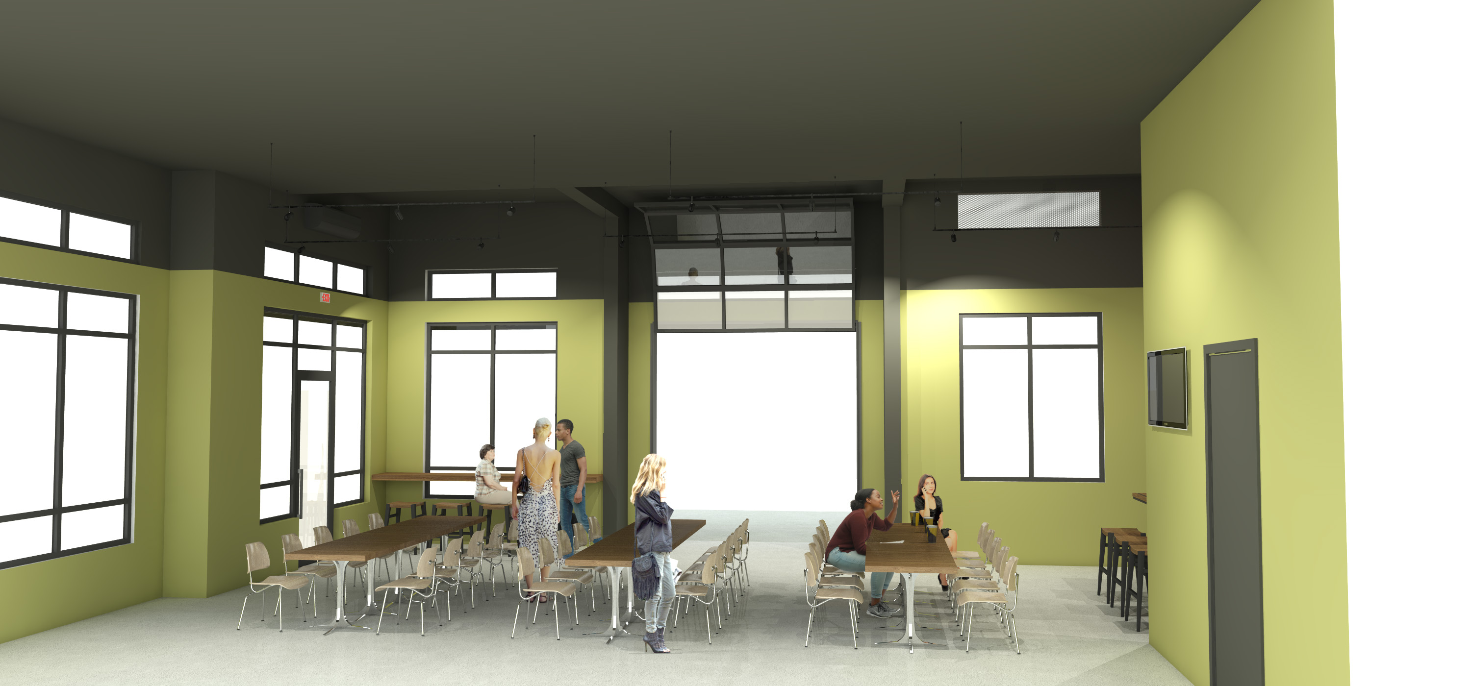 Portland Cider Co. Westside Pub inside and outside seating renderings by Steelhead Architecture