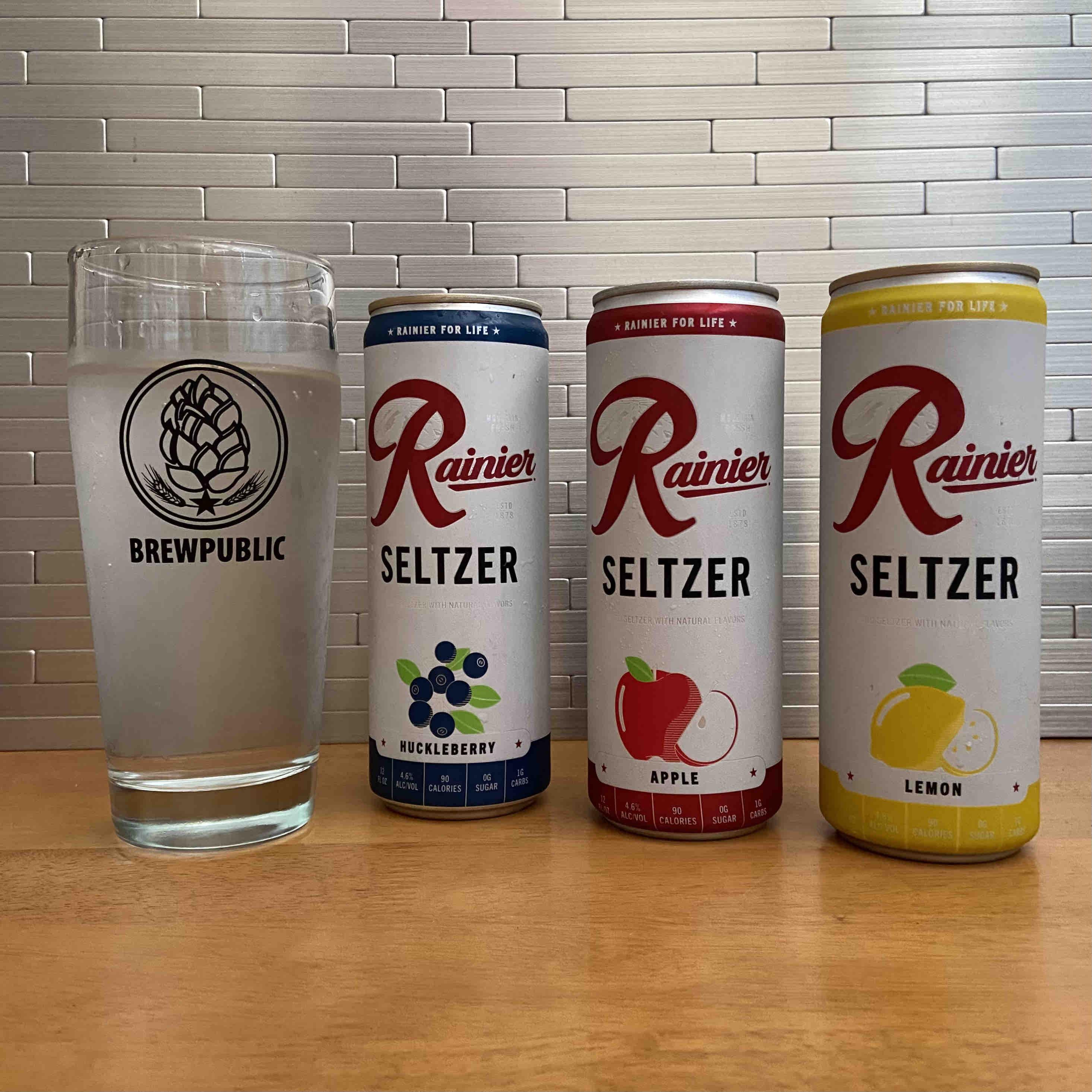 Rainier Hard Seltzer in Huckleberry, Apple, and Lemon flavors.