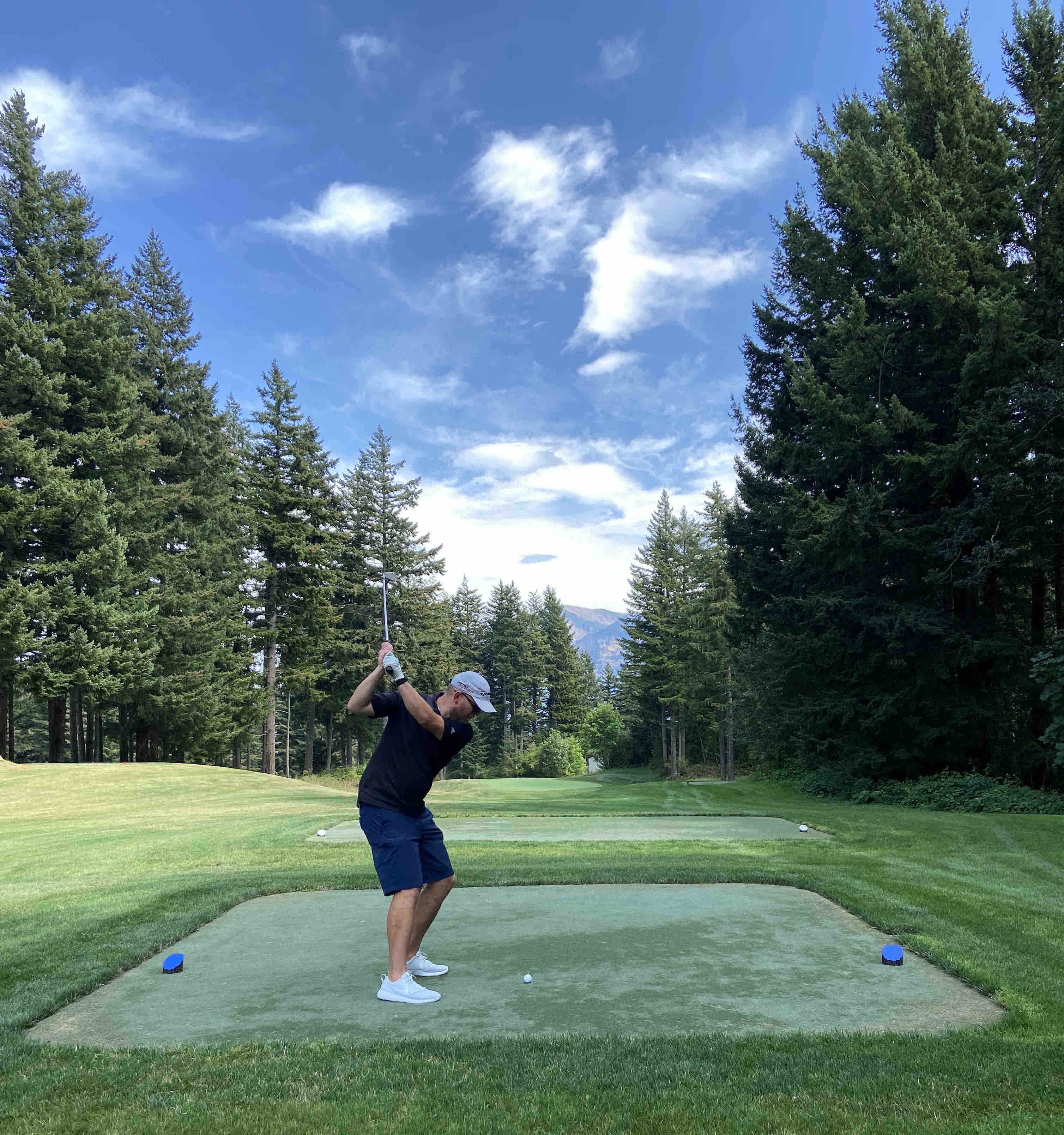 Teeing off from the blues at The Gorge 9 at Skamania Lodge.