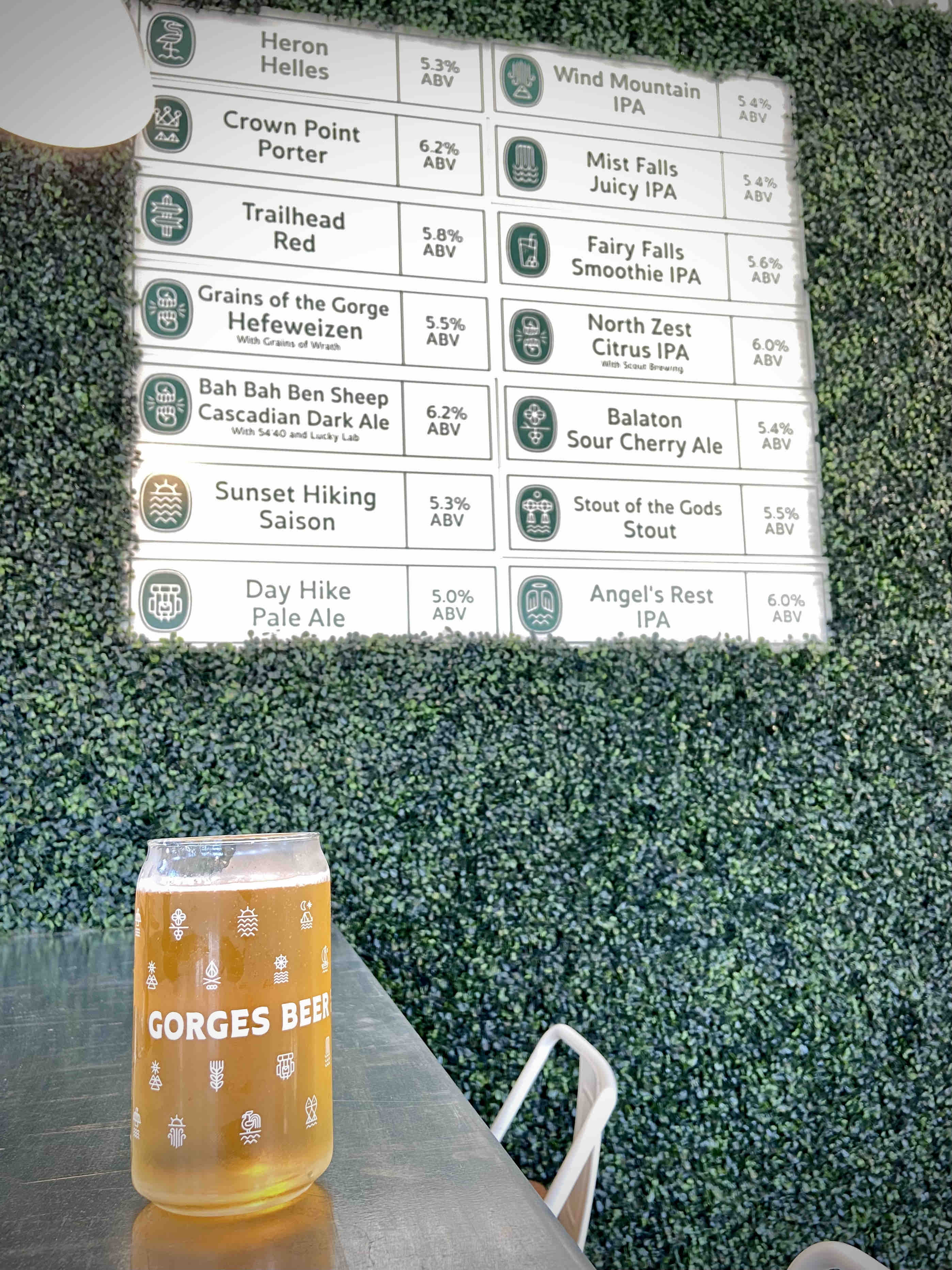 The beer menu board at the new Gorges Beer Co. in Cascade Locks, Oregon.