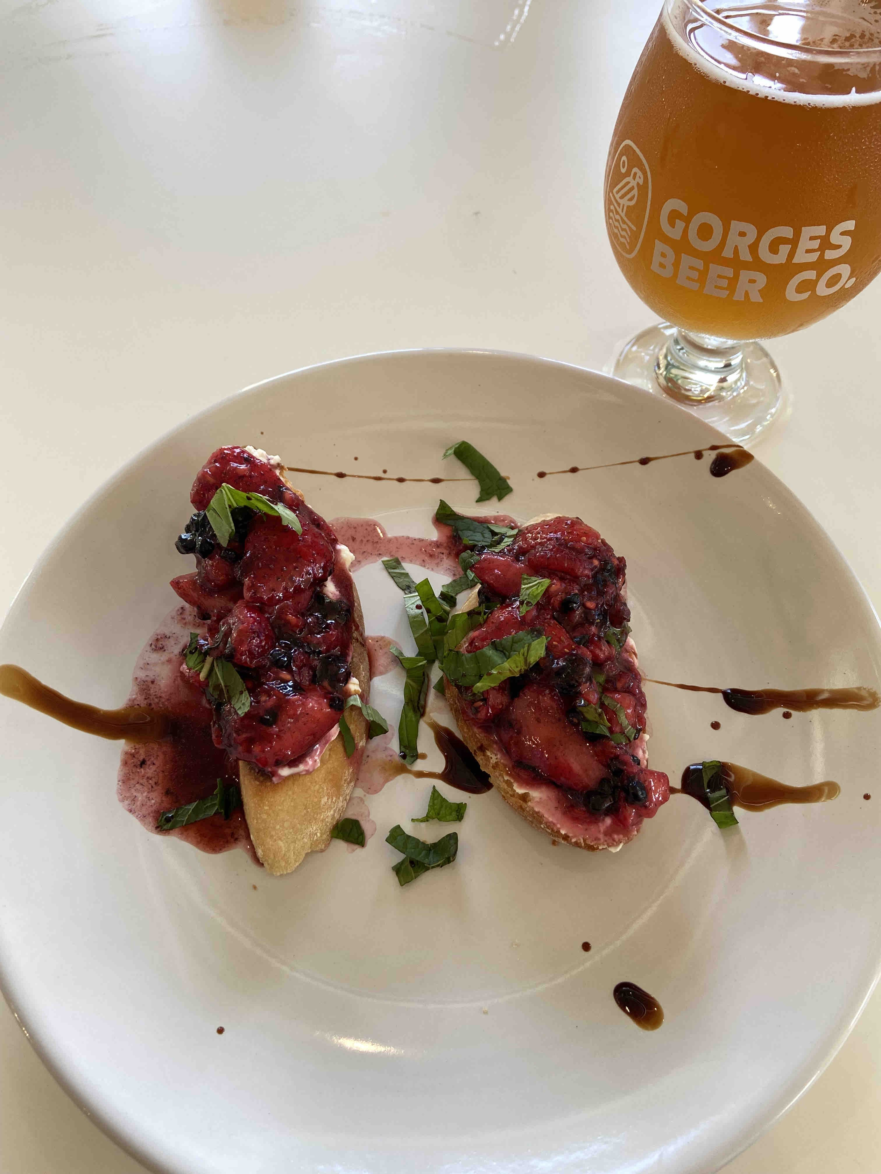 Triple Berry Bruschetta at Gorges Beer Co. was one of our favorite dishes.