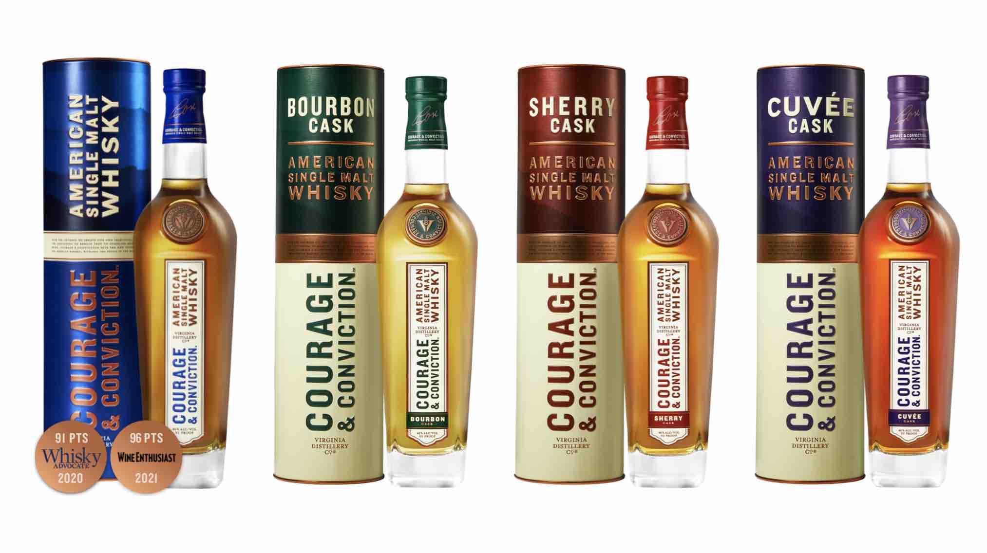 Virginia Distillery Co. – Courage & Conviction American Single Malt Whisky, Courage & Conviction Bourbon Cask, Courage & Conviction Sherry Cask, and Courage & Conviction Cuvée Cask