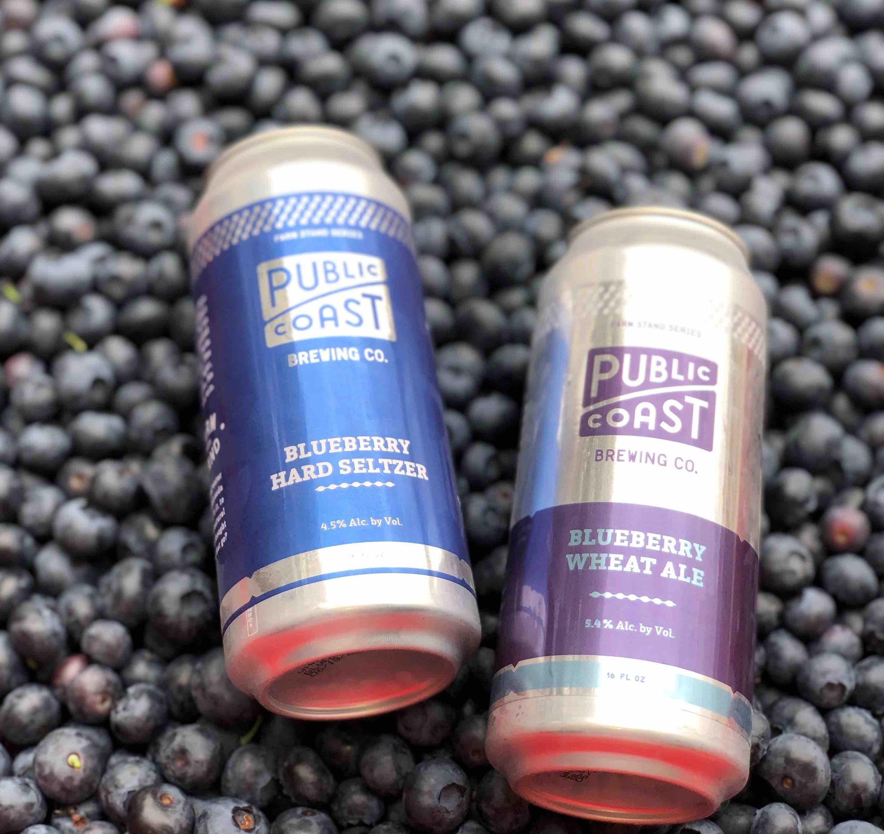 image of Blueberry Hard Seltzer and Blueberry Wheat Ale courtesy of Public Coast Brewing