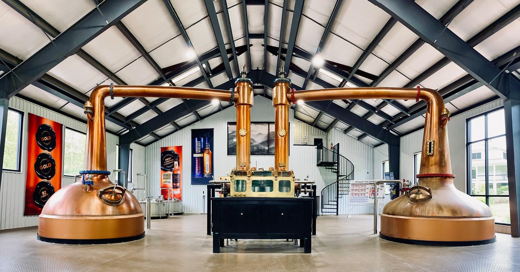 image of copper pot stills courtesy of Virginia Distillery Co.