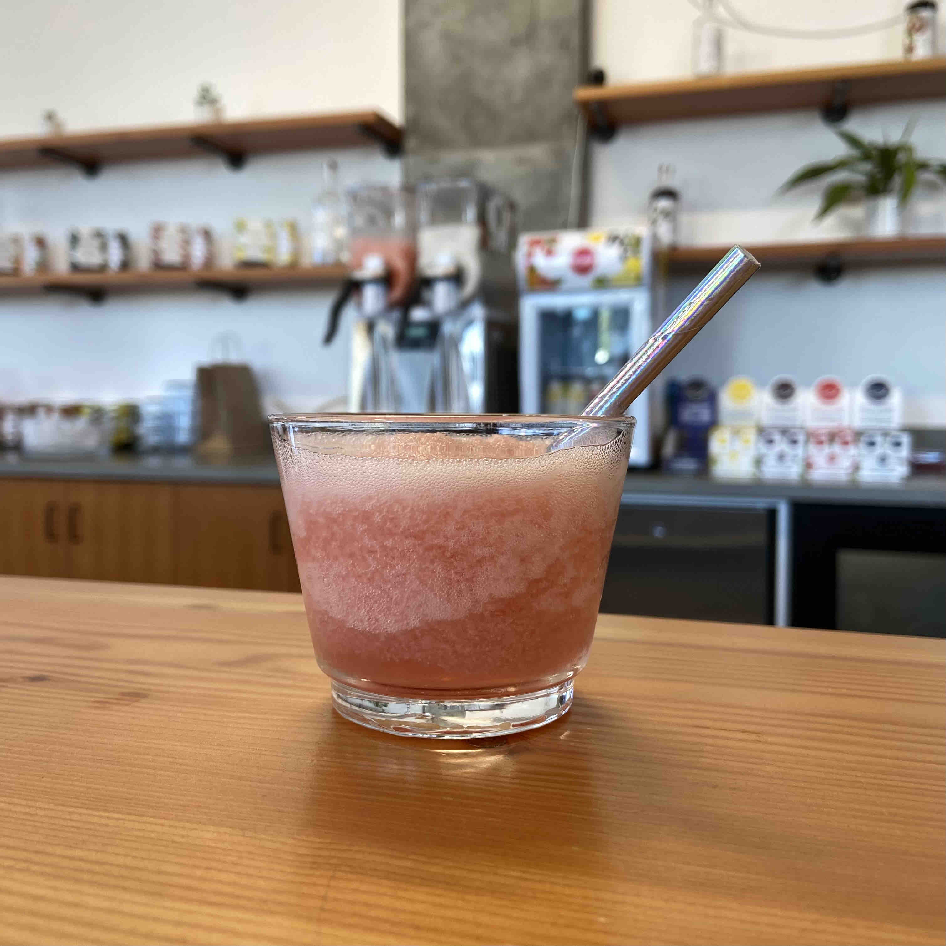A frozen Grapefruit Slushie with Wild Roots London Dry Gin at the Wild Roots Spirits Tasting Room.