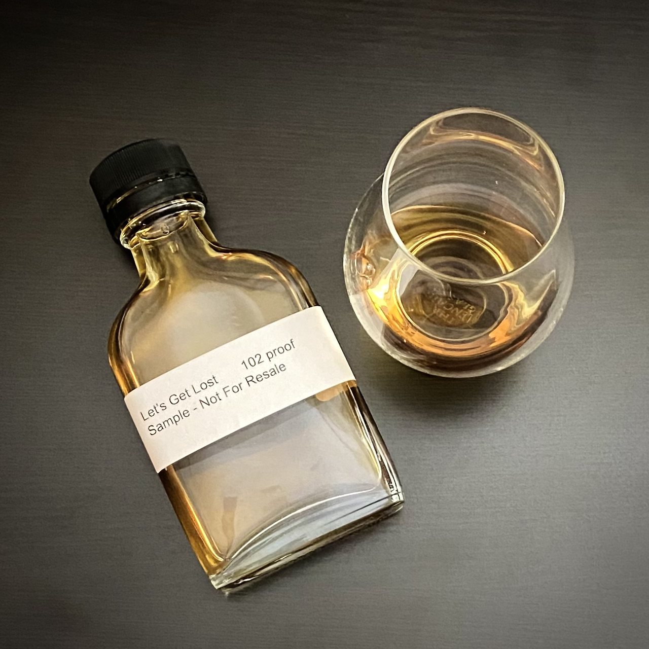A sample bottle of Let's Get Lost Whiskey from Dogfish Head Distilling.