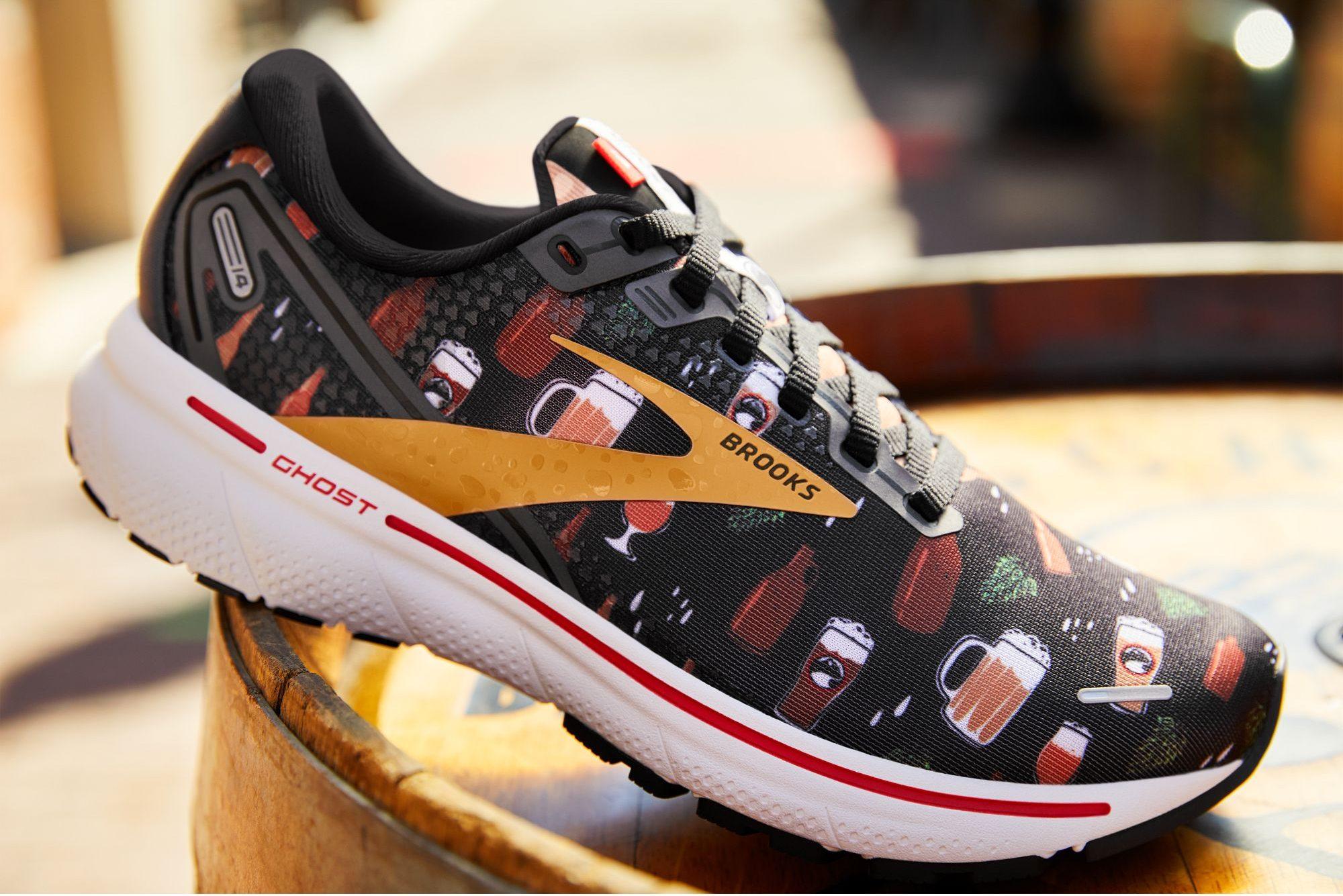 Deschutes Brewery and Brooks Running Deschutes themed Run Hoppy Ghost 14 Road Running Shoes. (image courtesy of Brooks Running)