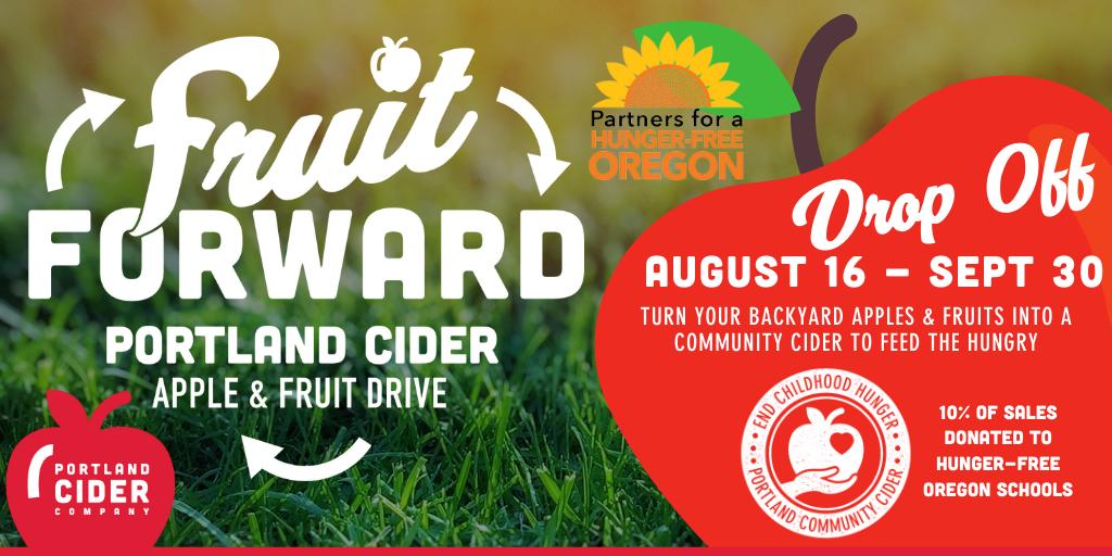 Portland Cider Co. Fruit Forward Apple & Fruit Drive for its PDX Community Cider