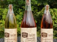 image of Mountain Rose Cider, Bourbon Vanilla Cider, and Strawberry Mojito Cider courtesy of Bauman's Cider