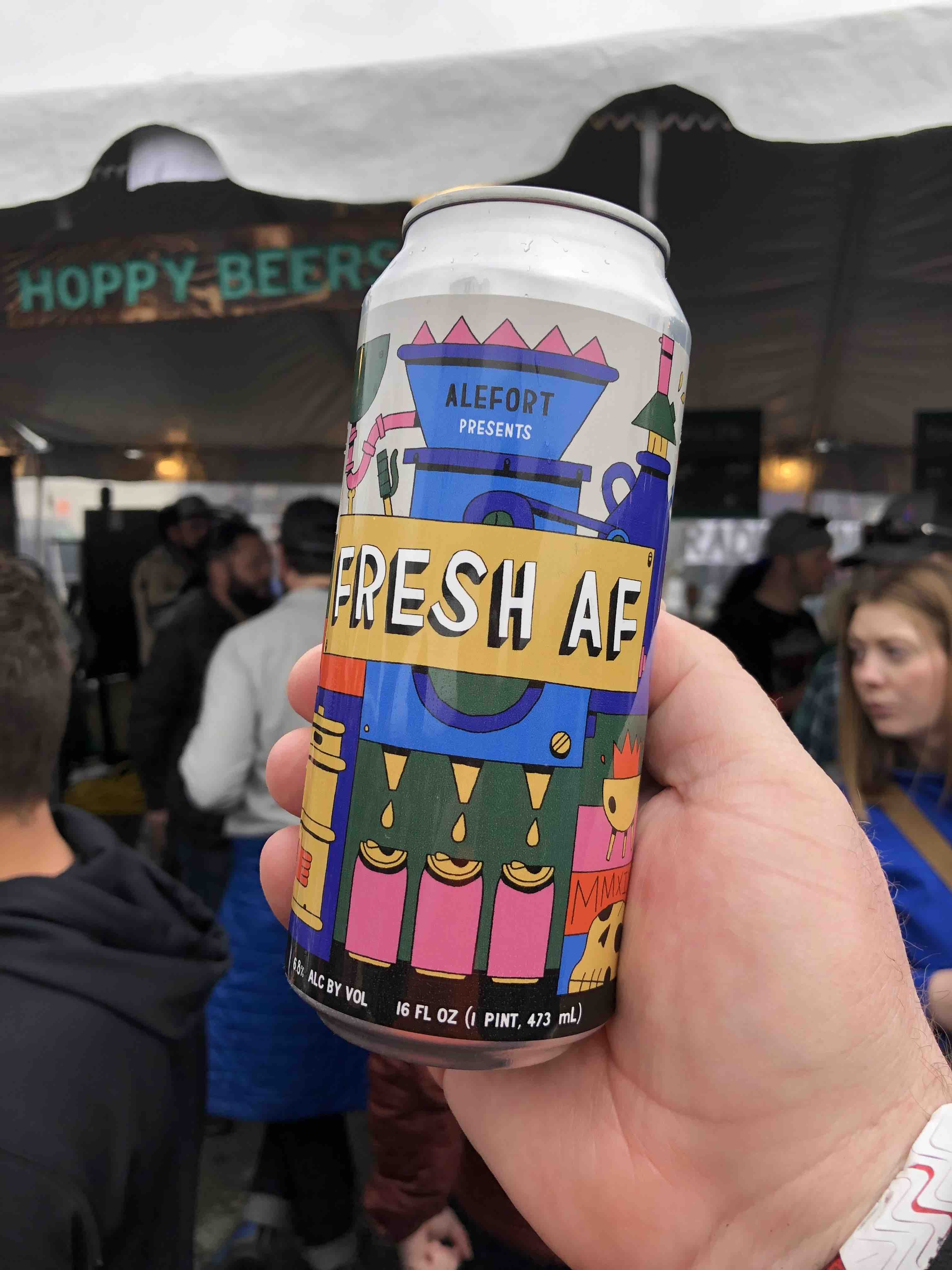 A can of Alefort Presents Fresh AF from Barley Brown's Beer during the 2019 Treefort Music Fest.