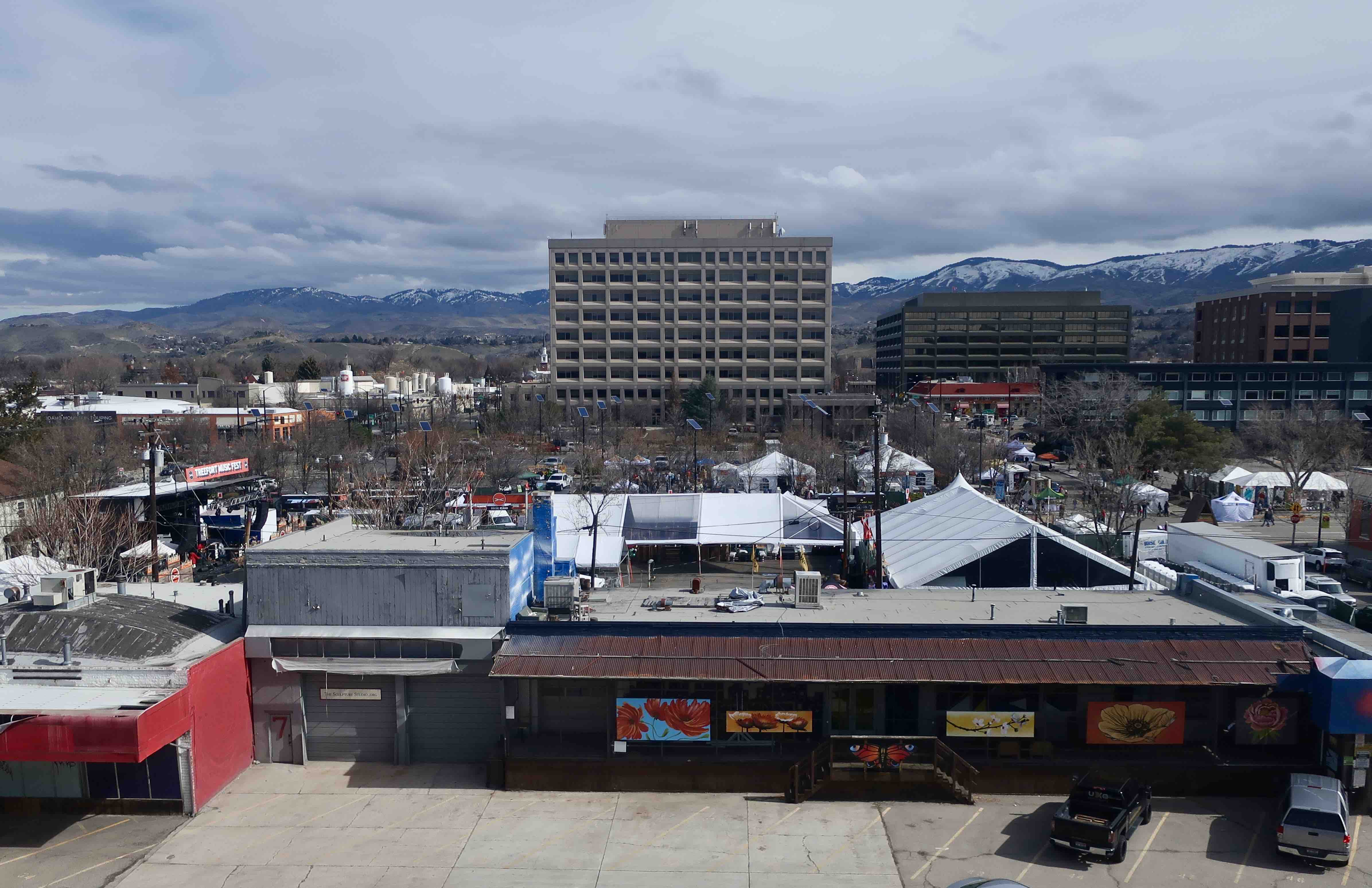 Looking over Boise and the outdoor stage at the 2019 Treefort Music Fest.