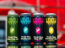 image of Fresh Hop IPA, Fresh Hop Oktoberfest, Fresh Hop Hazy IPA, and Fresh Hop American Lager. courtesy of Level Beer