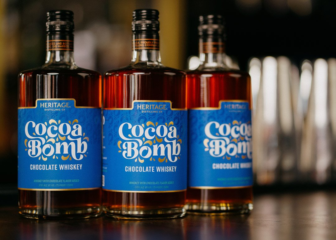 image off Cocoa Bomb Chocolate Whiskey courtesy of Heritage Distilling Co.