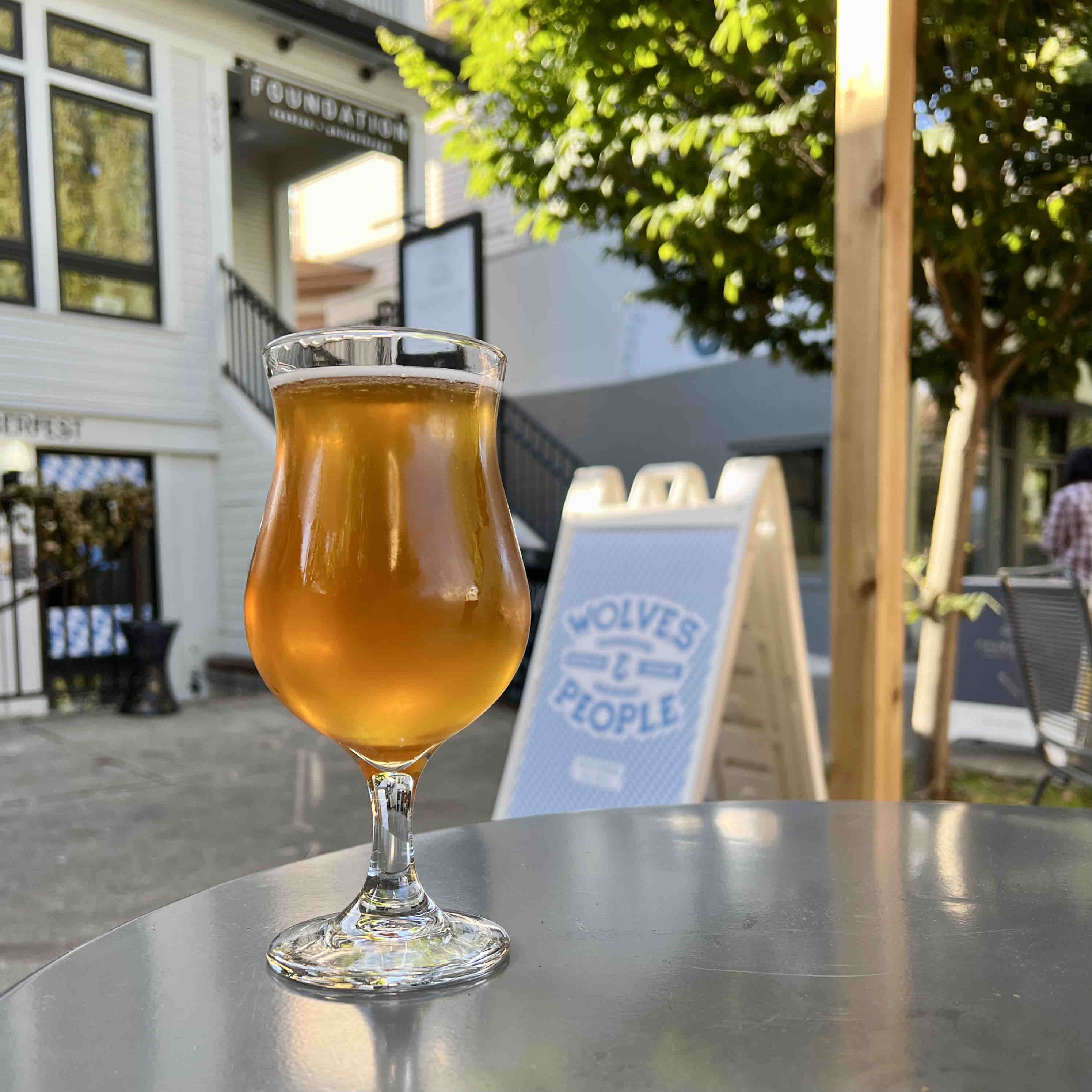 A Neuberg Lager on the parklet at Function PDX on a nice sunny fall afternoon.