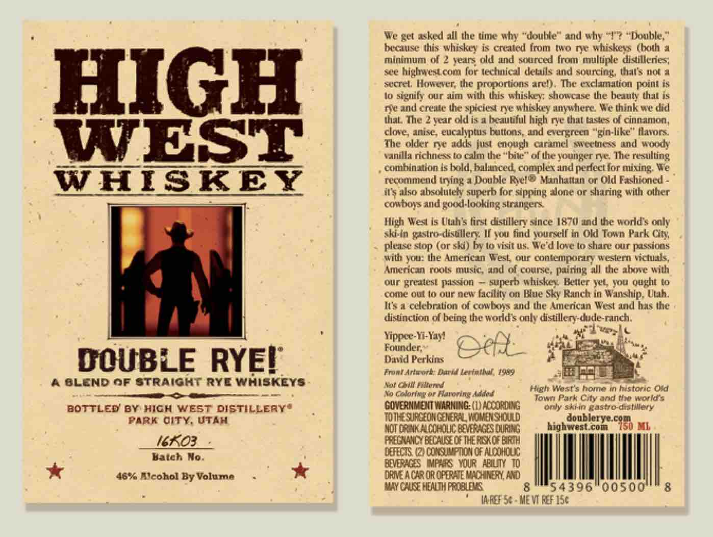 High West Whiskey Double Rye! Label